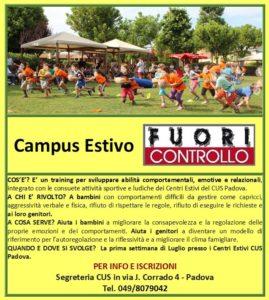 locandina Campus Estivo FUORI CONTROLLO